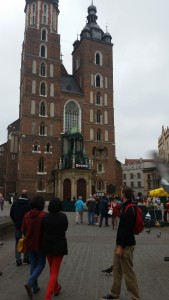 Me in front of my favorite church on Earth--Saint Mary's Basilica in Krakow